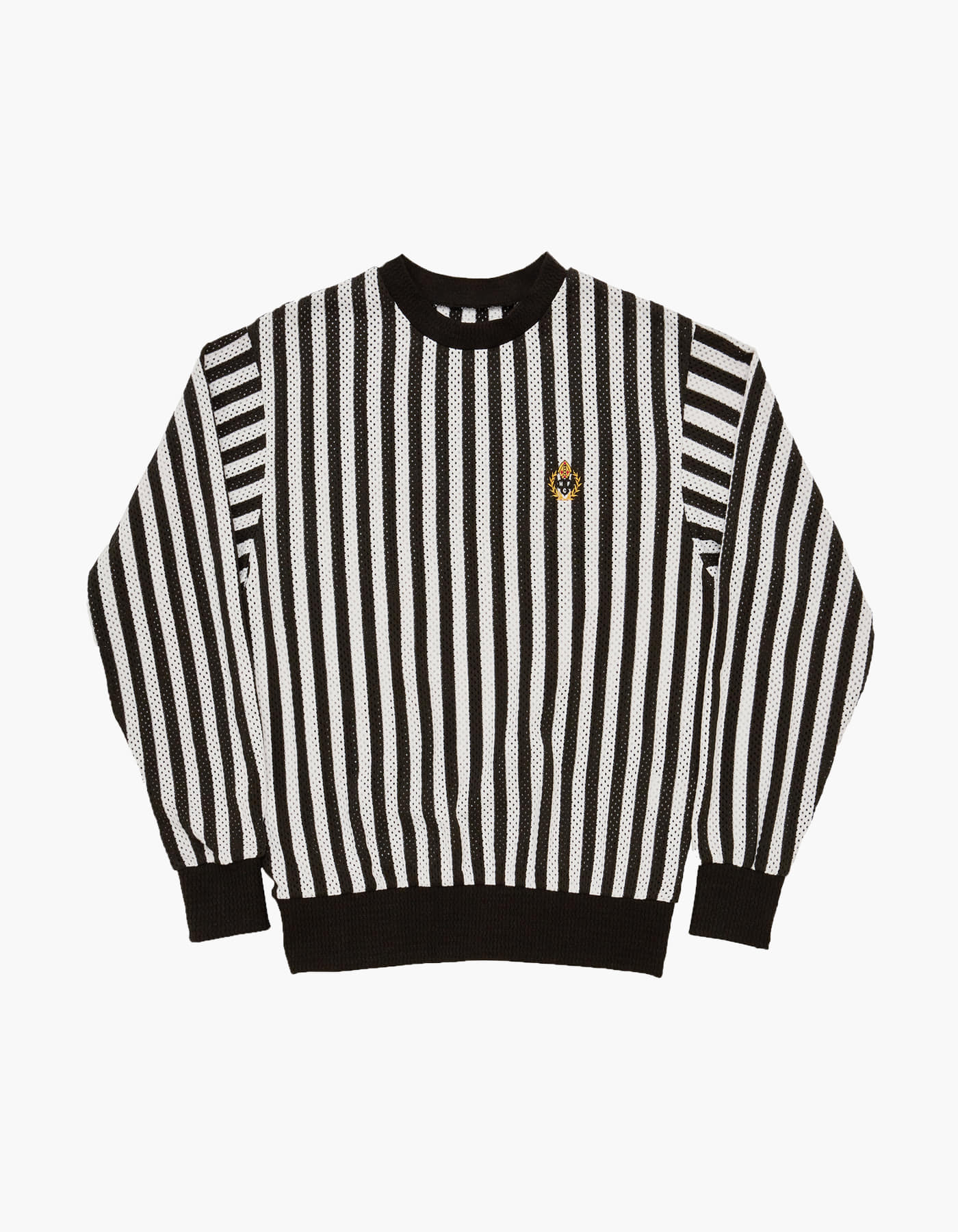 ENGLISH STRIPED MESH CREWNECK / WHITE-BLACK