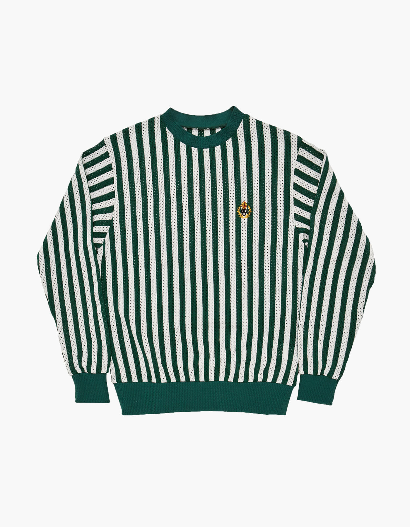 ENGLISH STRIPED MESH CREWNECK / WHITE-GREEN